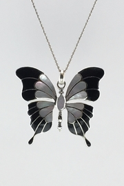 Unbranded Shell-Pearl-Inlay Black-And-White Sterling-Silver-Butterfly-Pendant - Front cropped