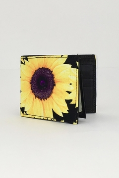Shoptiques Product: Sunflower-Print Hancrafted Billfold-Wallet