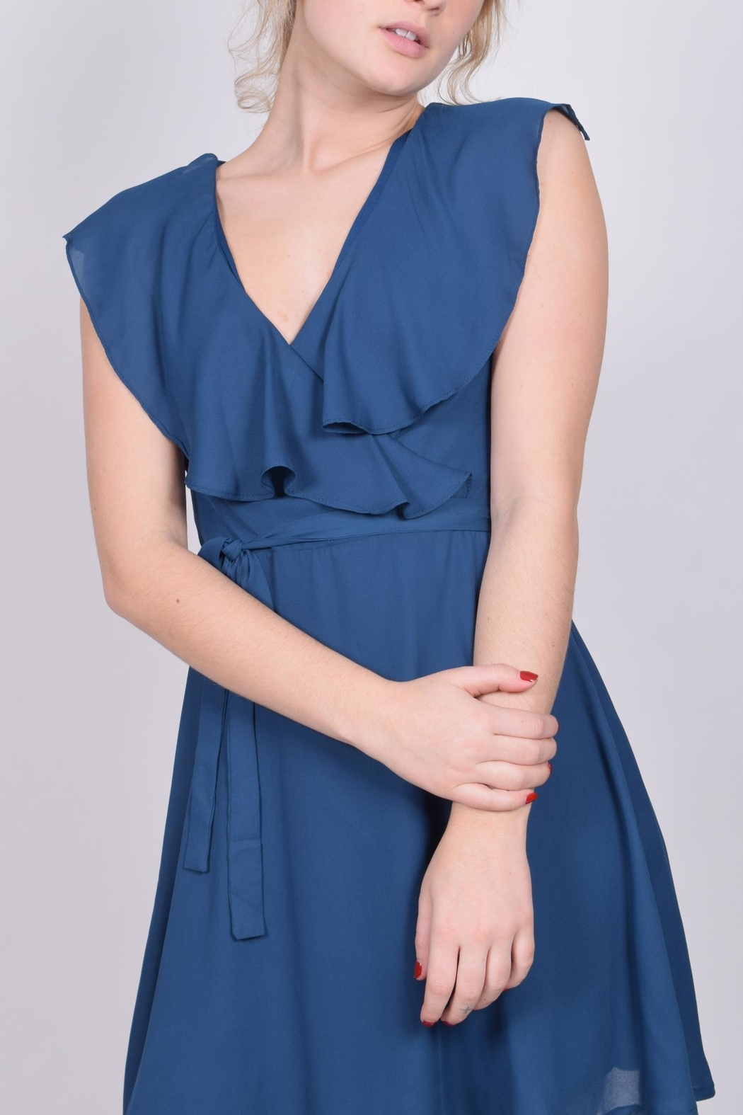 Unbranded Teal Ruffle Dress - Front Full Image