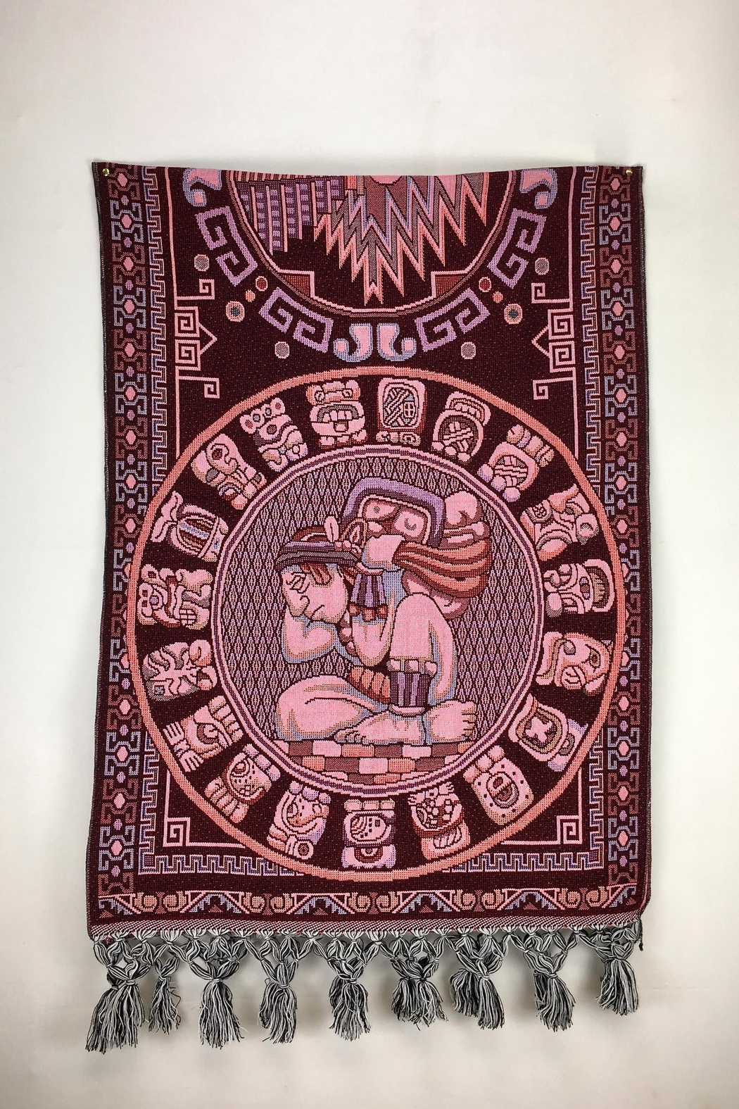 Unbranded Tzolkin-Mayan-Calendar Woven-Textile Rebozo-Shawl - Front Full Image