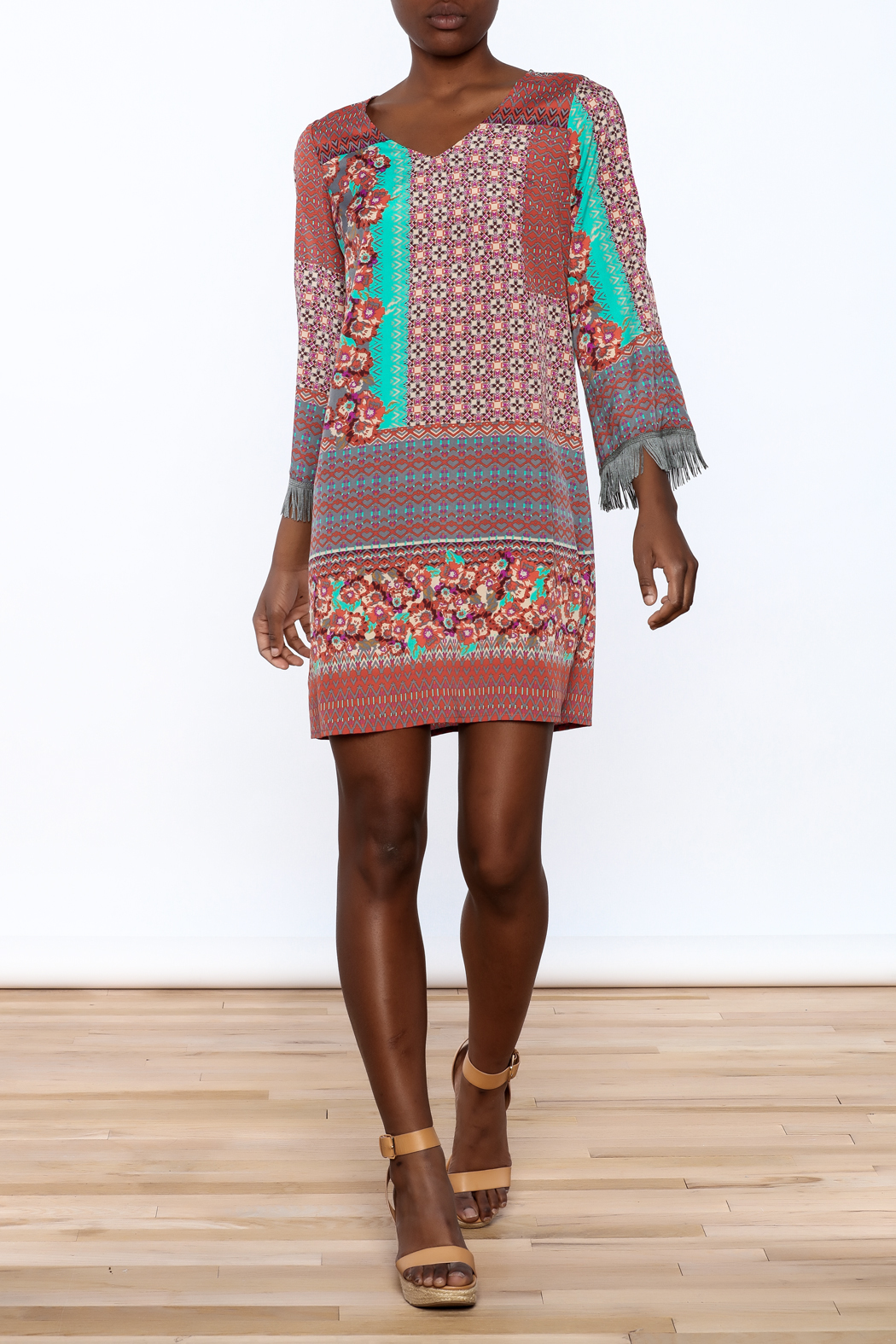 Uncle Frank Anastasia Mix Print Dress - Front Full Image