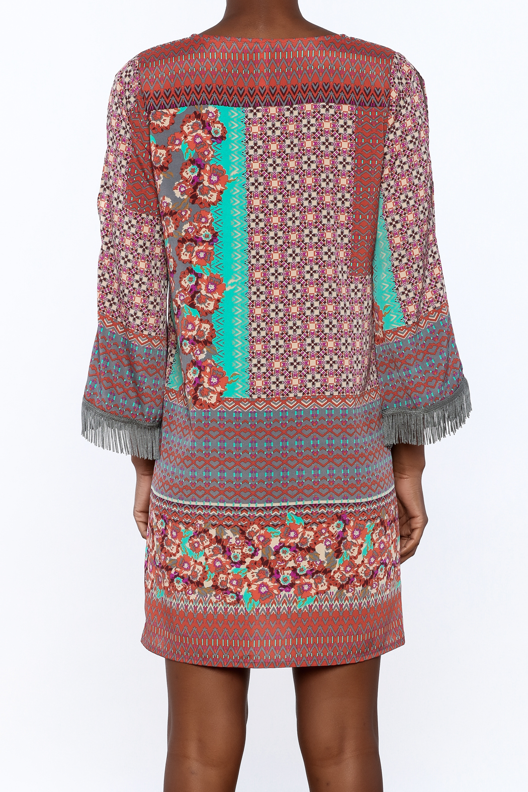 Uncle Frank Anastasia Mix Print Dress - Back Cropped Image