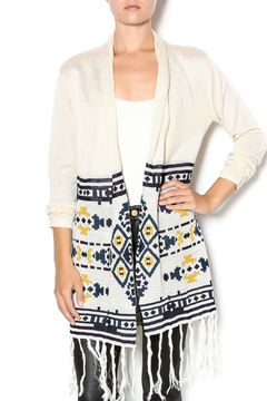Shoptiques Product: Cream Printed Fringed Sweater