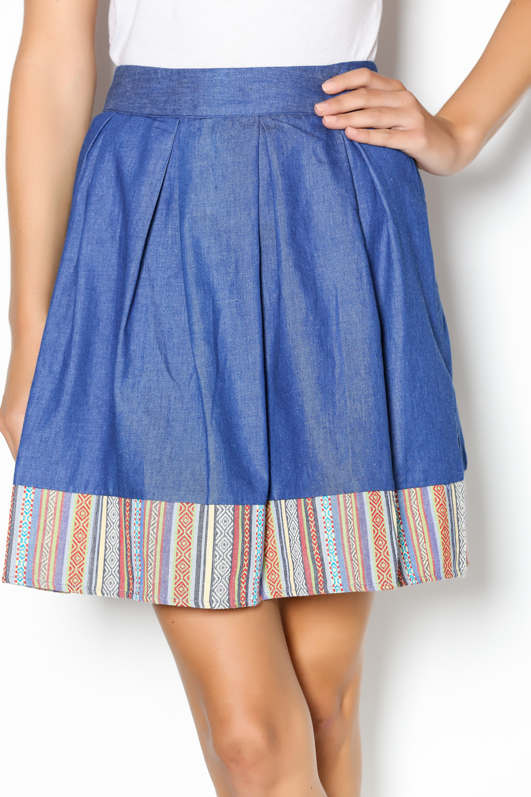 Under Skies Denim Pleated Skirt from California by MP Couture ...