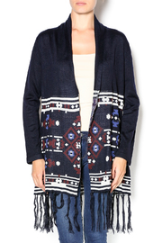 Under Skies Navy Printed Fringed Sweater - Product Mini Image