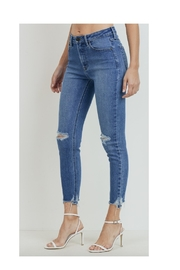 just black Uneven Hem Distressed Skinnies - Front full body