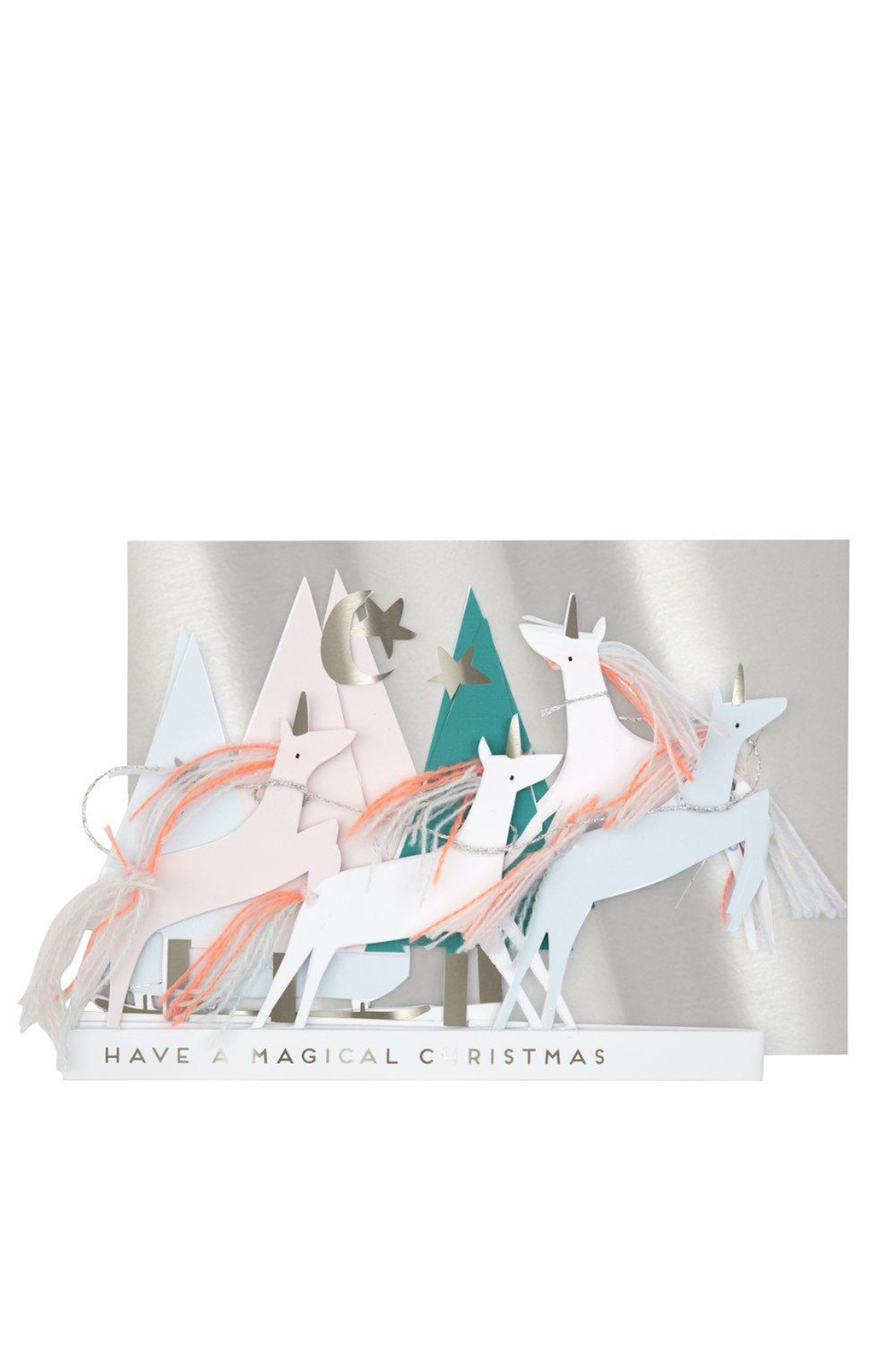 Meri Meri  Unicorn Christmas Concertina Card - Front Full Image