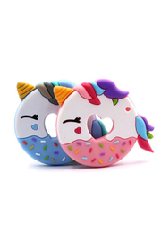 Chewies Unicorn Donut Silicone Teether - Front cropped