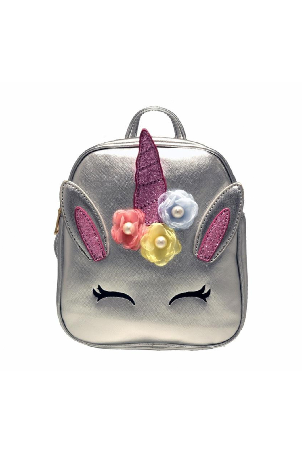 Doe a Dear Unicorn Foil Backpack With Flower Applique - Front Cropped Image