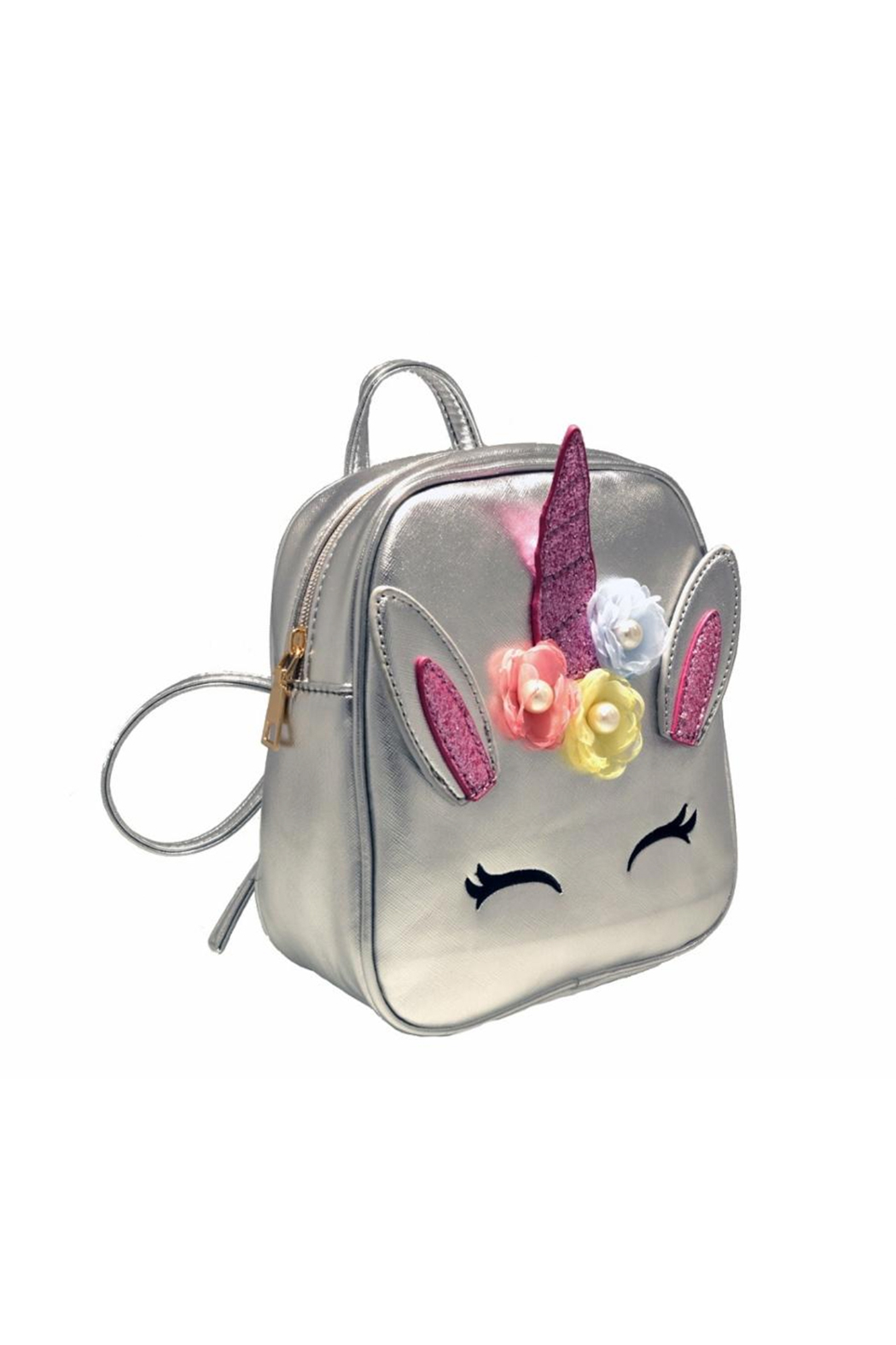 Doe a Dear Unicorn Foil Backpack With Flower Applique - Front Full Image