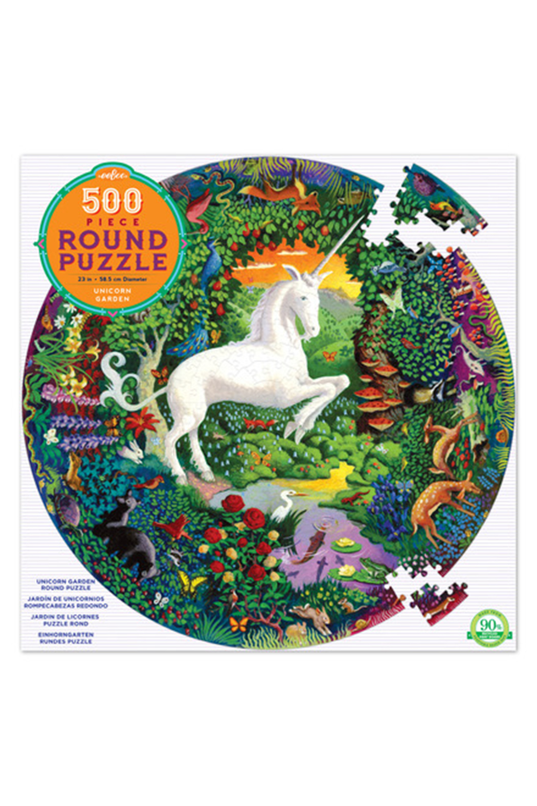 Eeboo Unicorn Garden 500 Piece Round Puzzle - Front Cropped Image