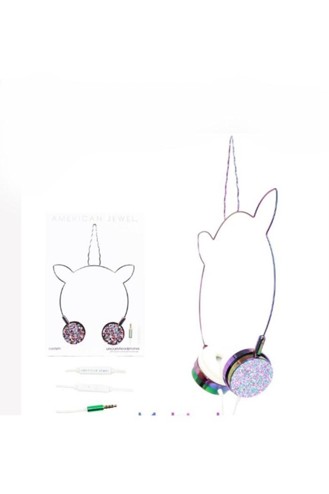 American Jewel Unicorn Headphone Confetti - Front Cropped Image
