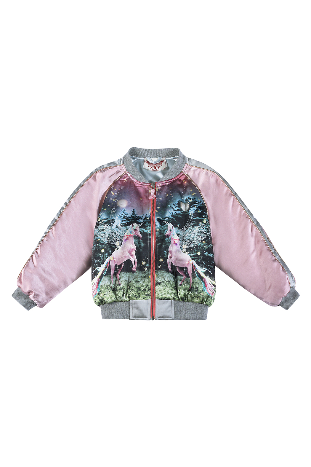 Paper Wings Unicorn Satin Bomber Jacket - Front Cropped Image