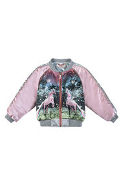 Paper Wings Unicorn Satin Bomber Jacket - Front cropped