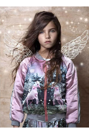 Paper Wings Unicorn Satin Bomber Jacket - Side cropped