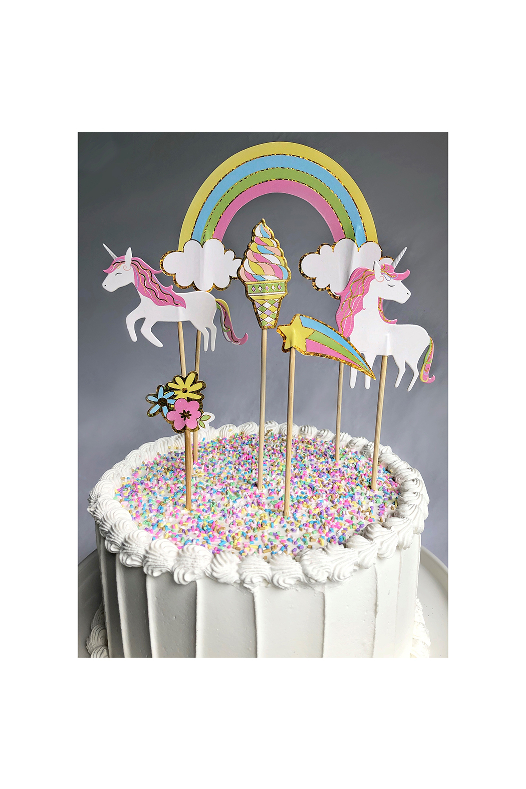 Party Partners Unicorns Cake Toppers - Front Full Image