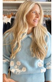 LoveShackFancy Union Collared Pullover - Front cropped