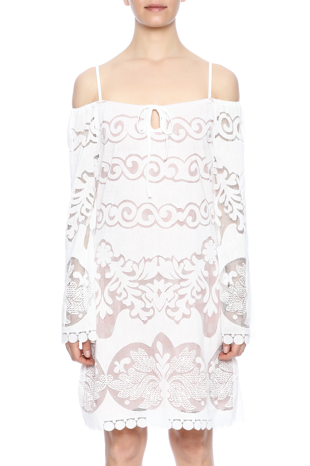 Union of Angels White Lace Dress - Side Cropped Image