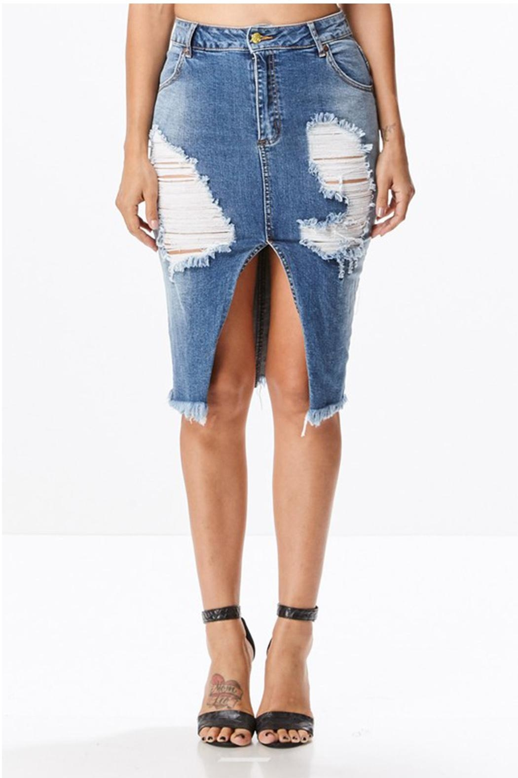 Uniq Distressed Denim Skirt - Front Cropped Image