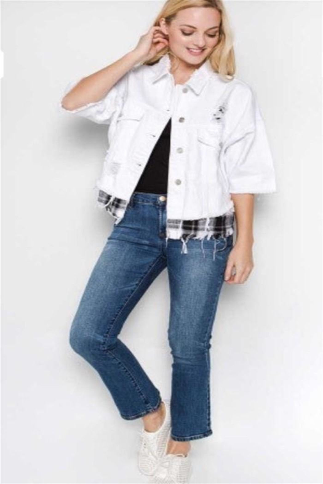 Uniq Distressed White Jacket - Main Image