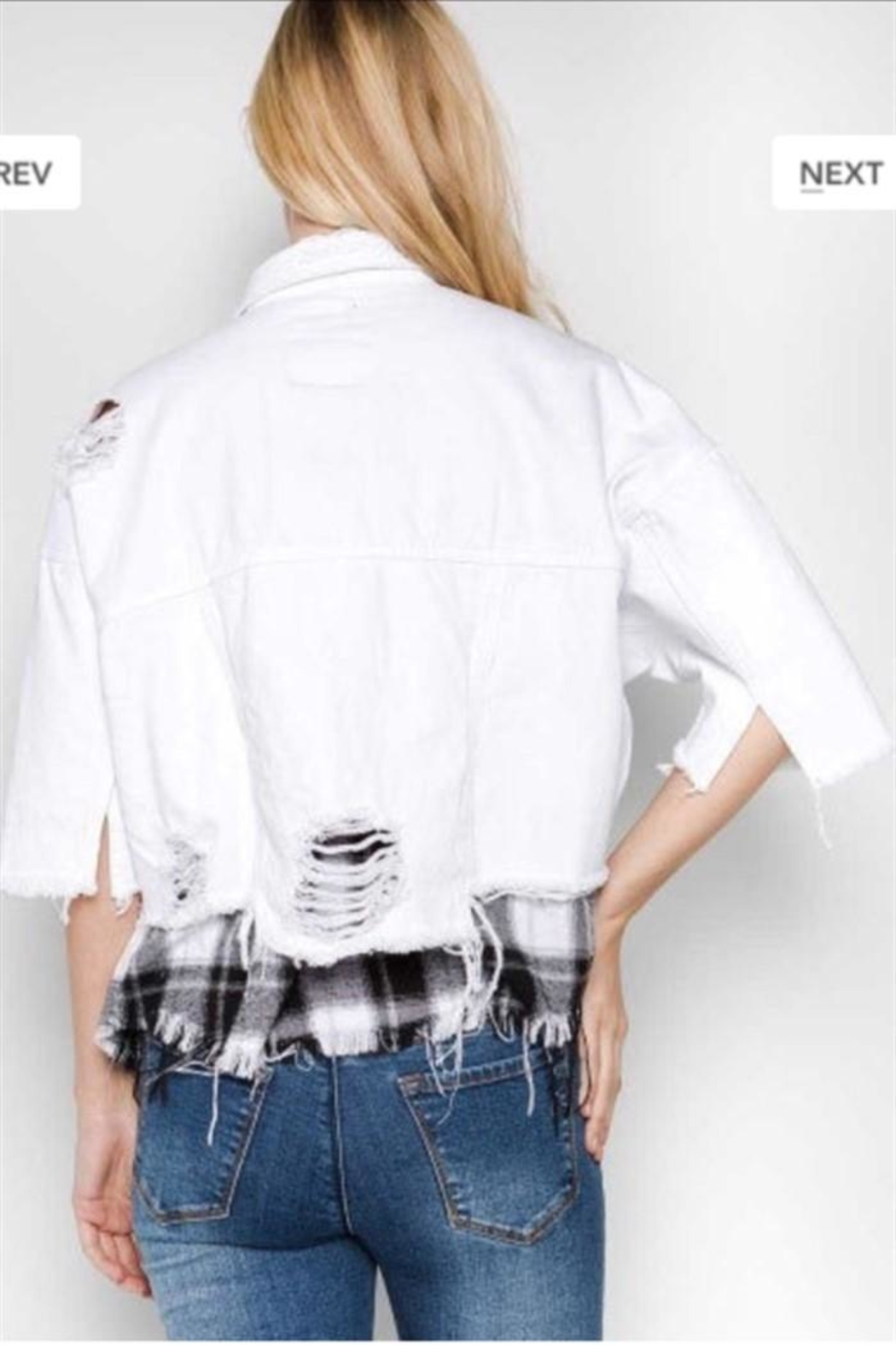 Uniq Distressed White Jacket - Side Cropped Image