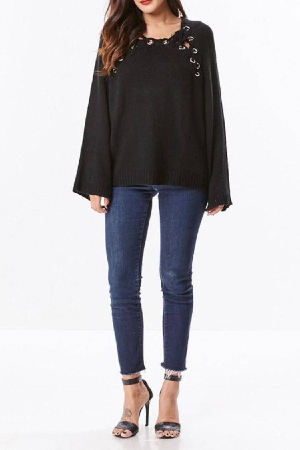 Uniq Hooded Bell Sleeve Top - Main Image