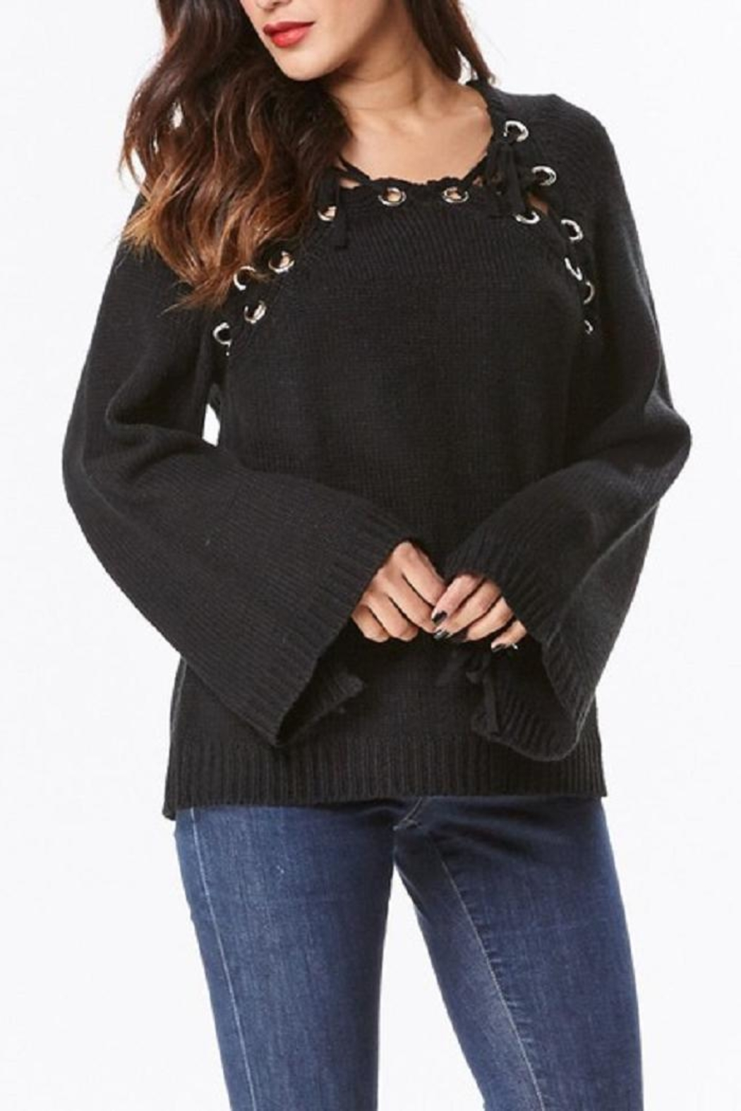 Uniq Hooded Bell Sleeve Top - Side Cropped Image
