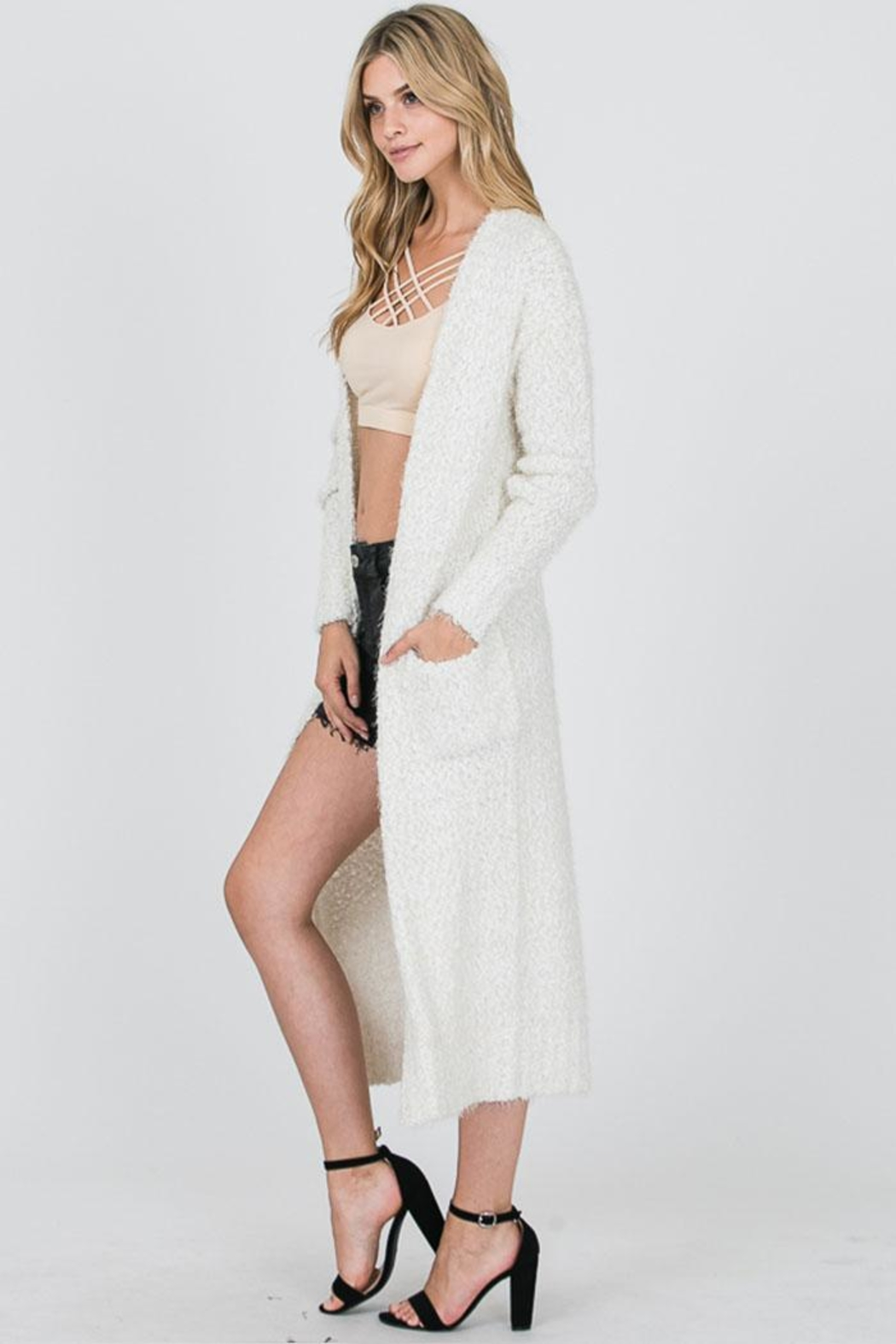 Uniq Long Fluffy Cardigan - Side Cropped Image