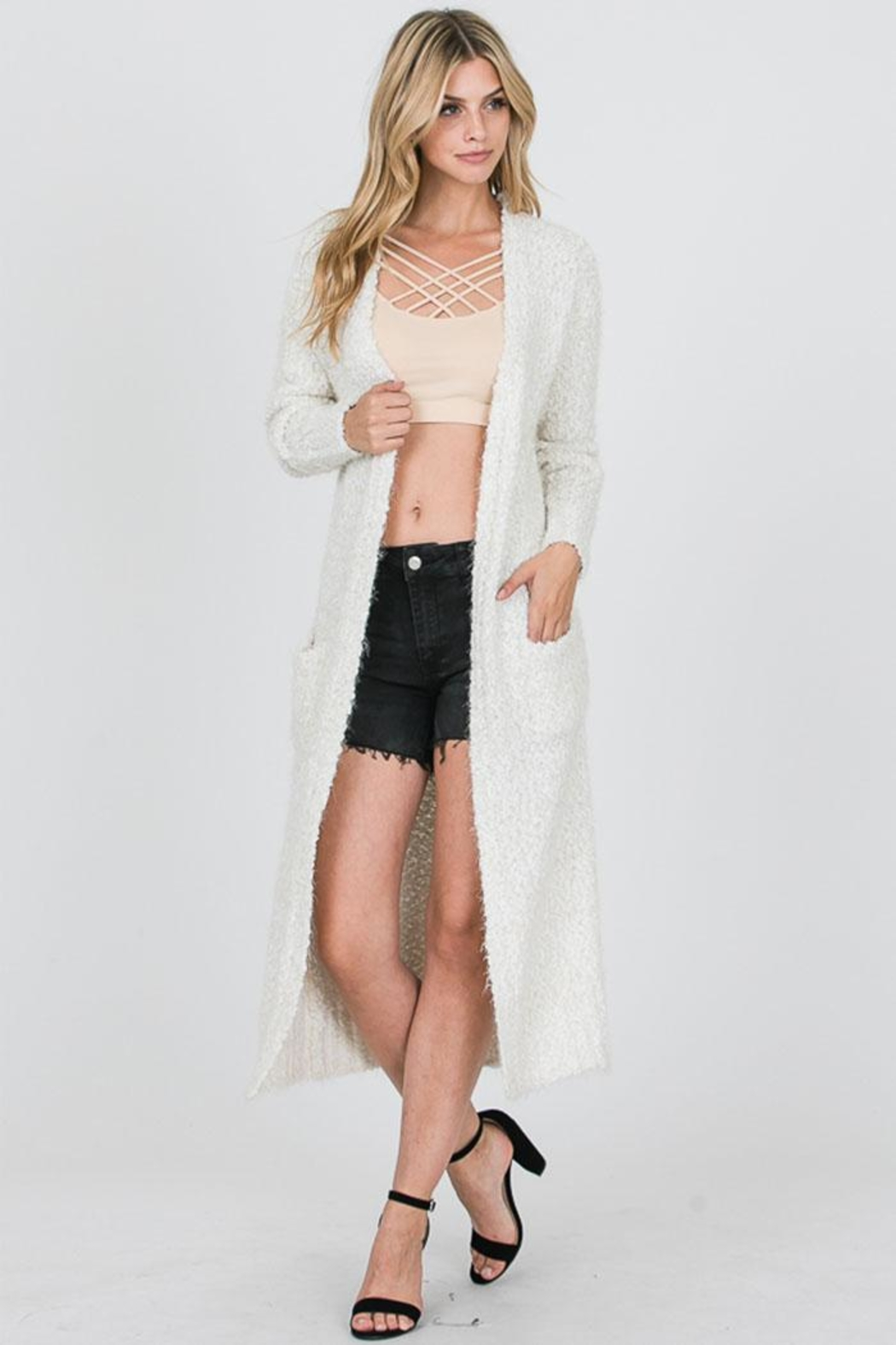 Uniq Long Fluffy Cardigan - Main Image