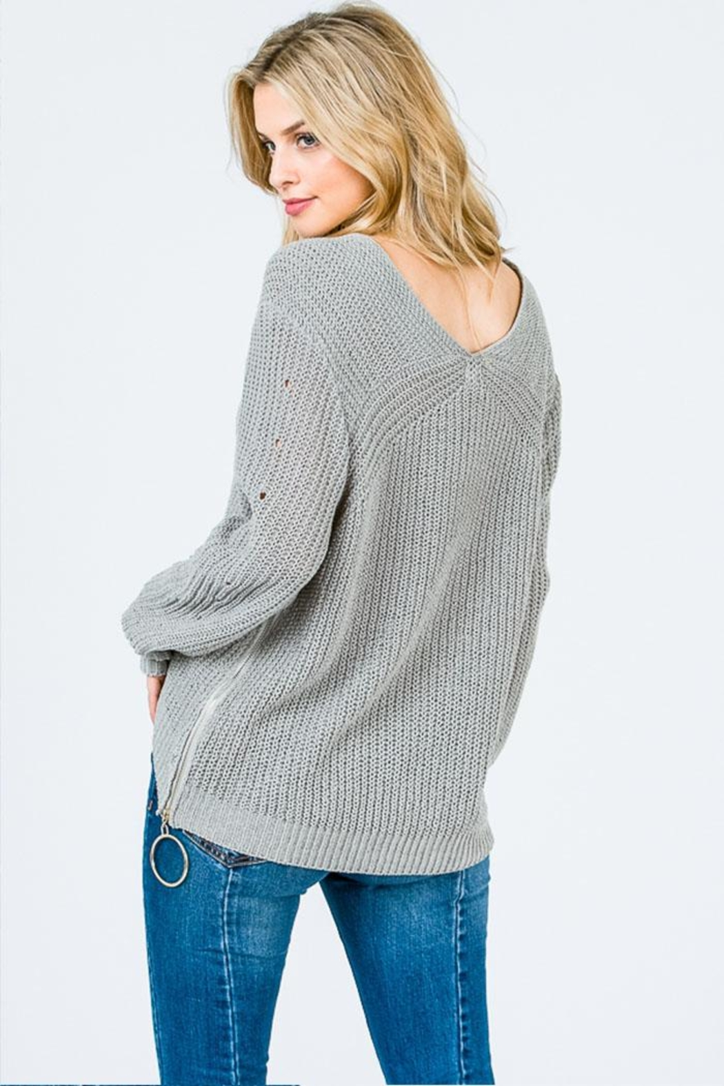 Uniq Side Zipper Sweater - Back Cropped Image