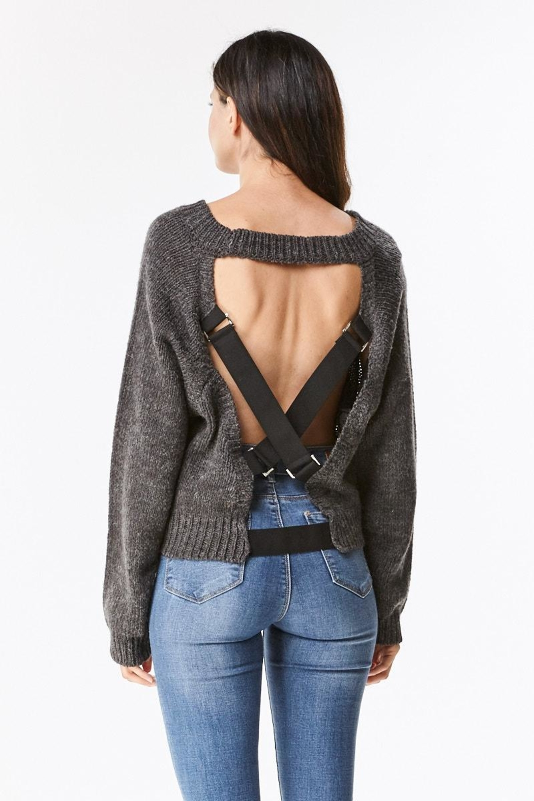 Uniq Strap Back Sweater Top - Front Cropped Image