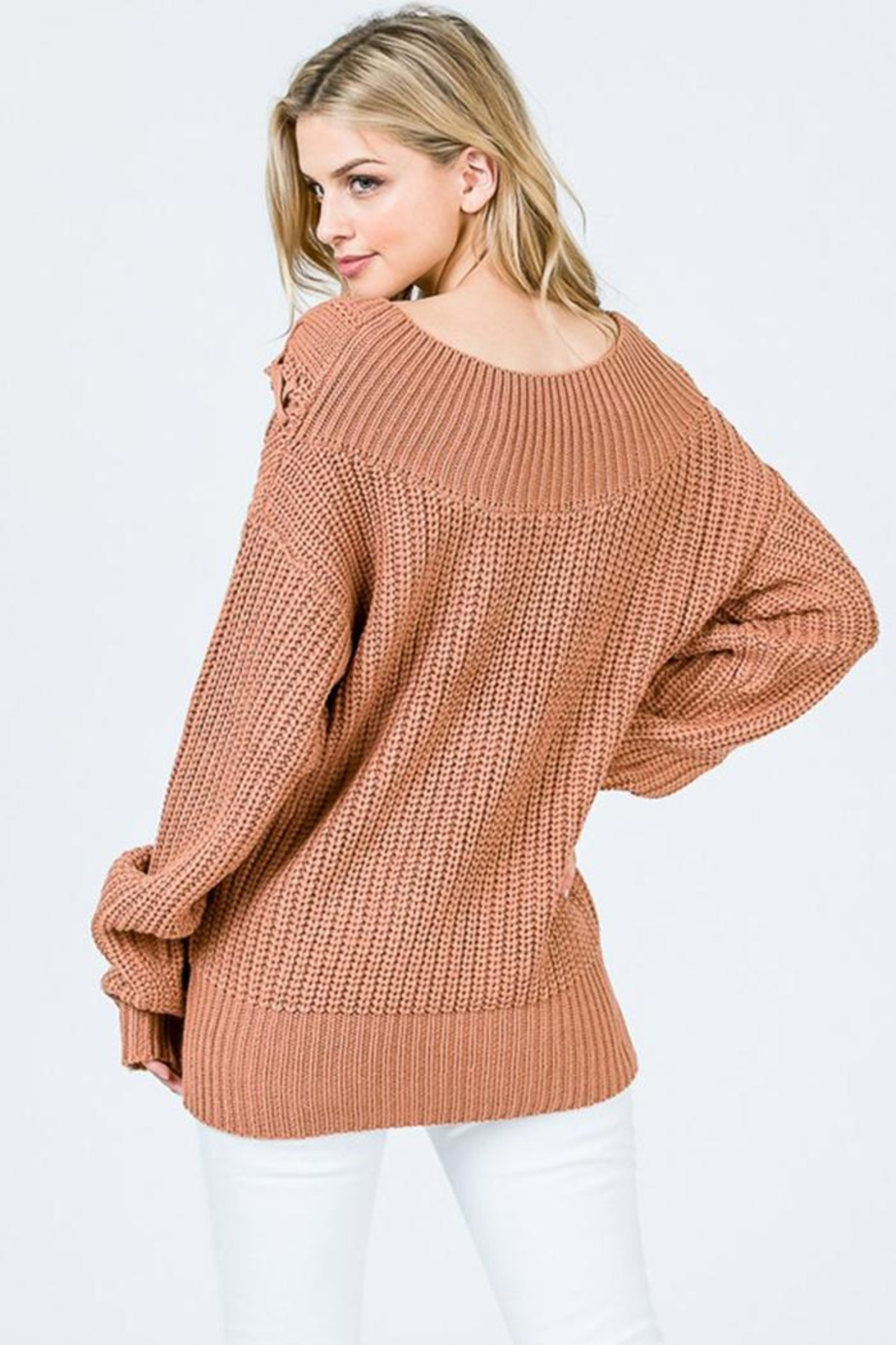 Uniq Tie Front Sweater - Side Cropped Image
