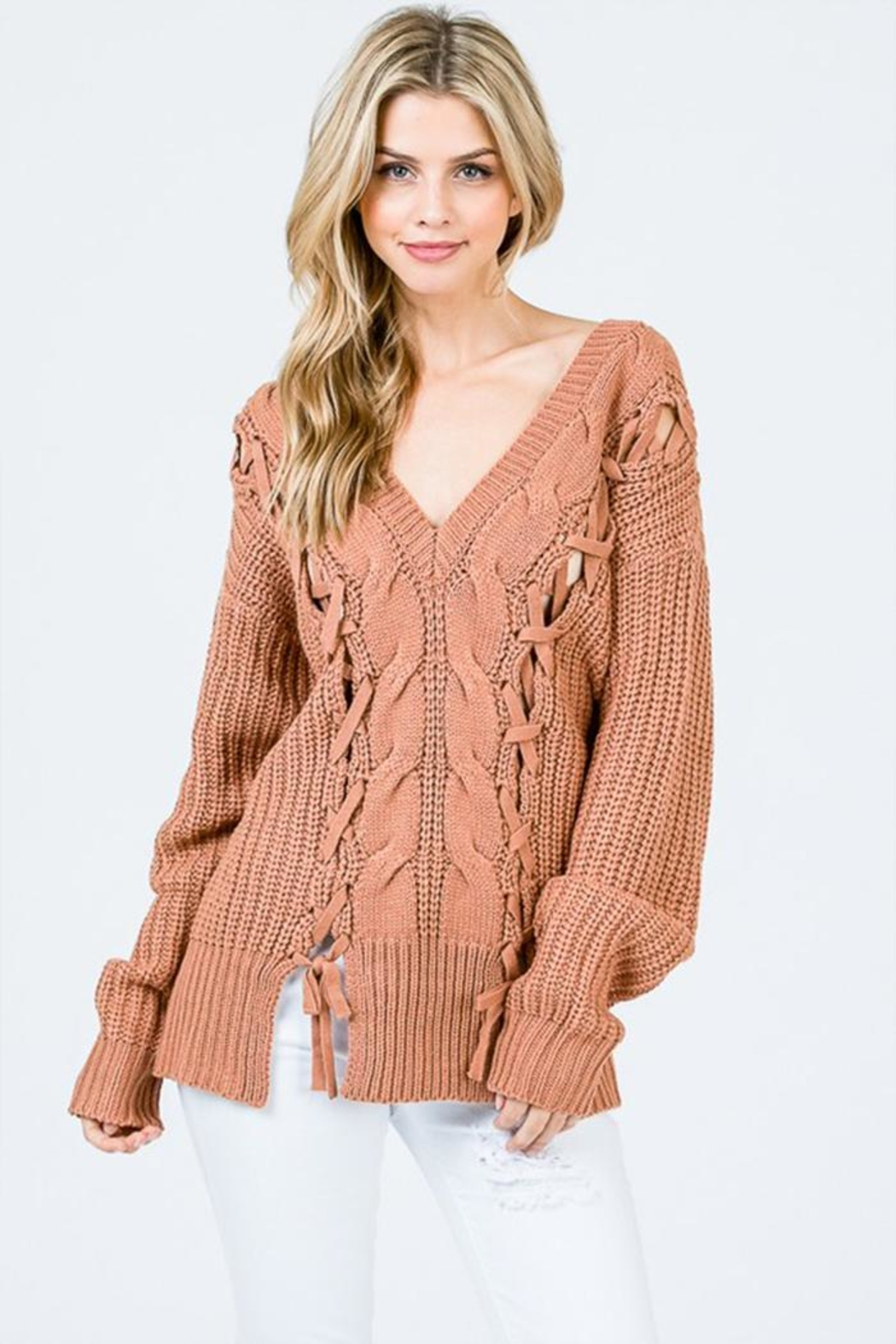 Uniq Tie Front Sweater - Front Cropped Image