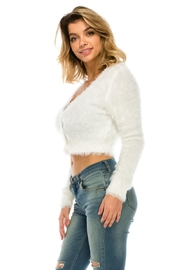Uniq White Fuzzy Cardigan - Side cropped