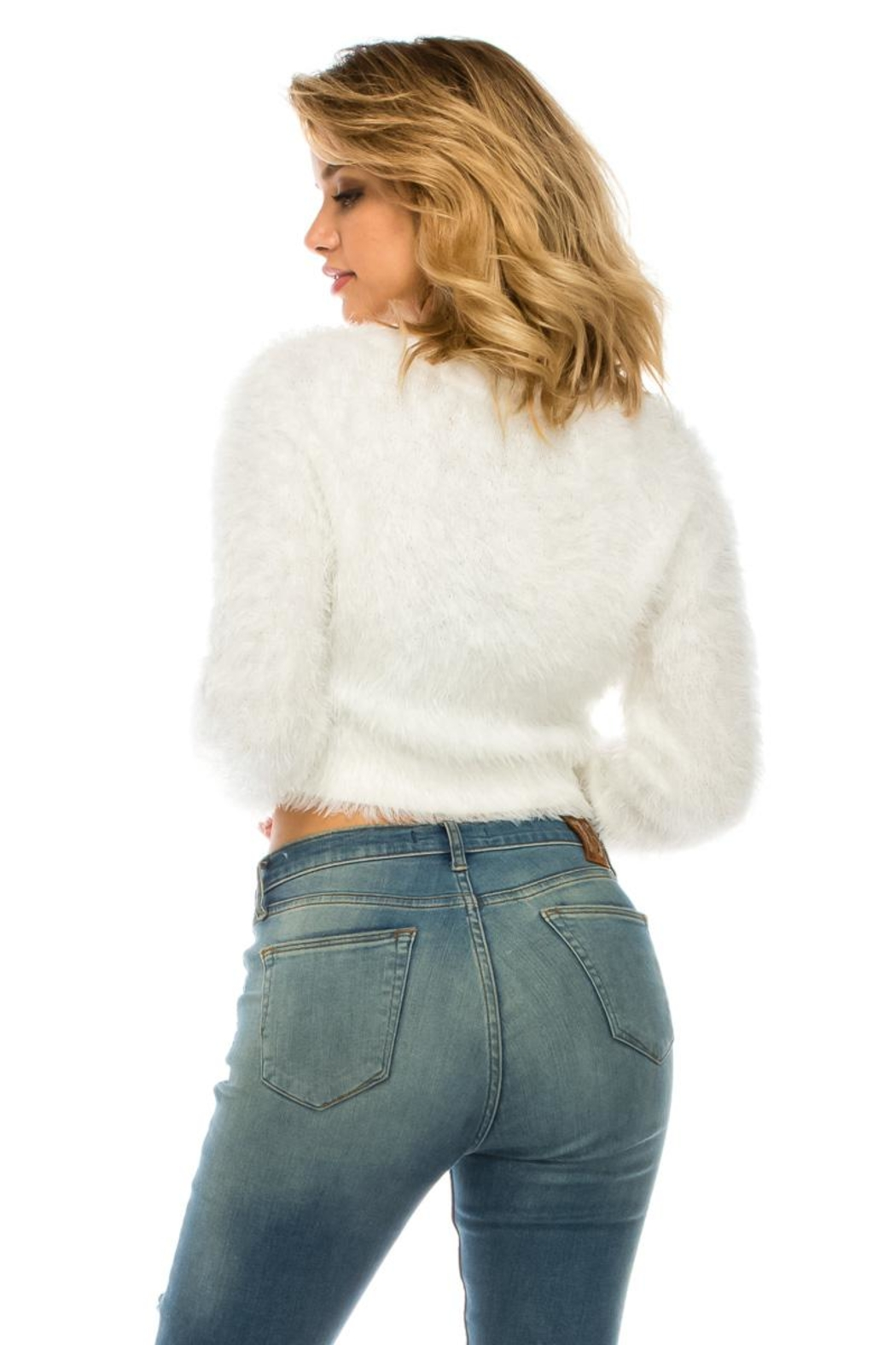 Uniq White Fuzzy Cardigan - Back Cropped Image