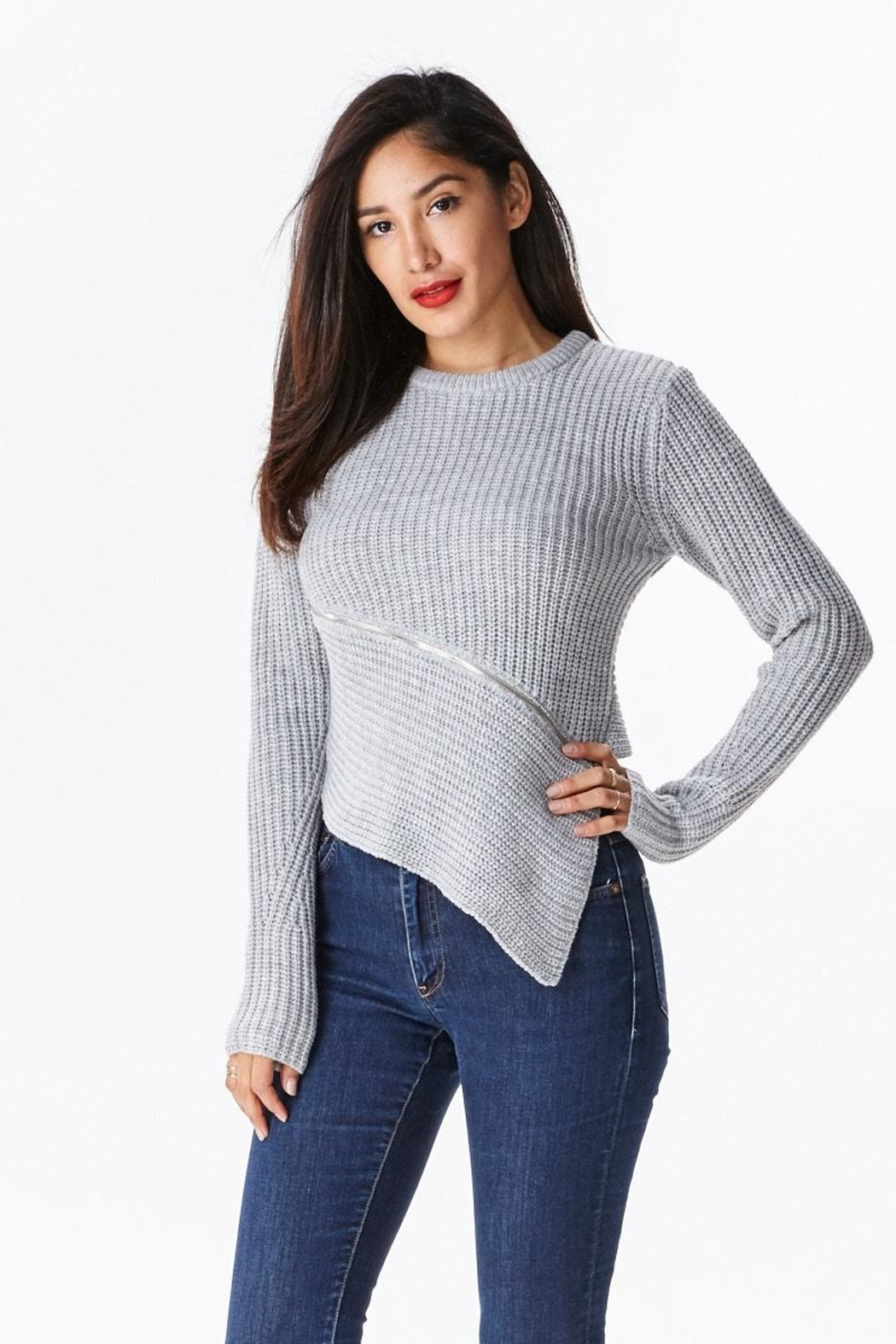 Uniq Zipper Front Sweater - Front Cropped Image