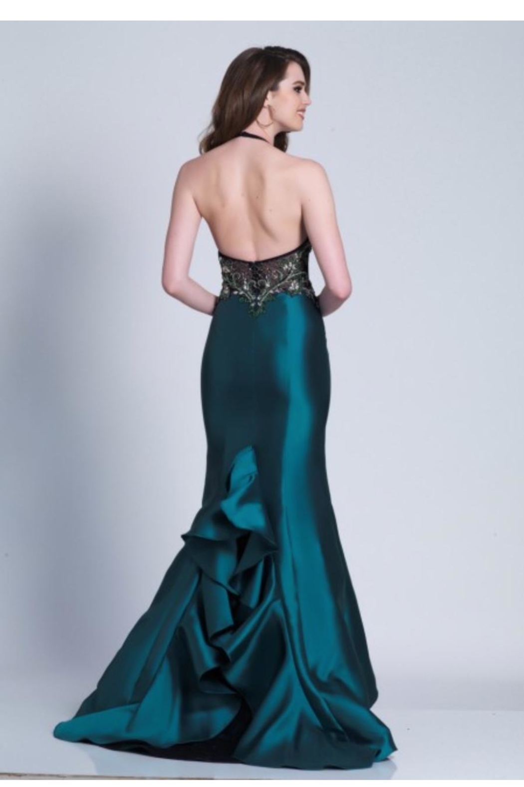 Dave and Johnny Unique Emerald Gown - Front Full Image