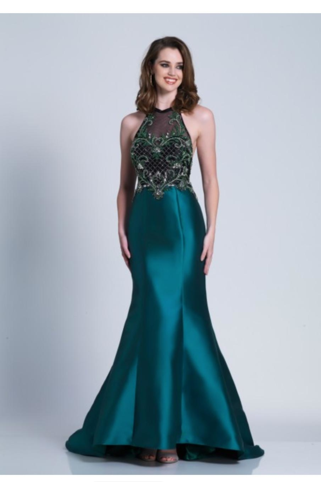 Dave and Johnny Unique Emerald Gown - Main Image