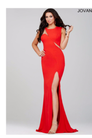 Jovani Unique Red Gown - Front cropped