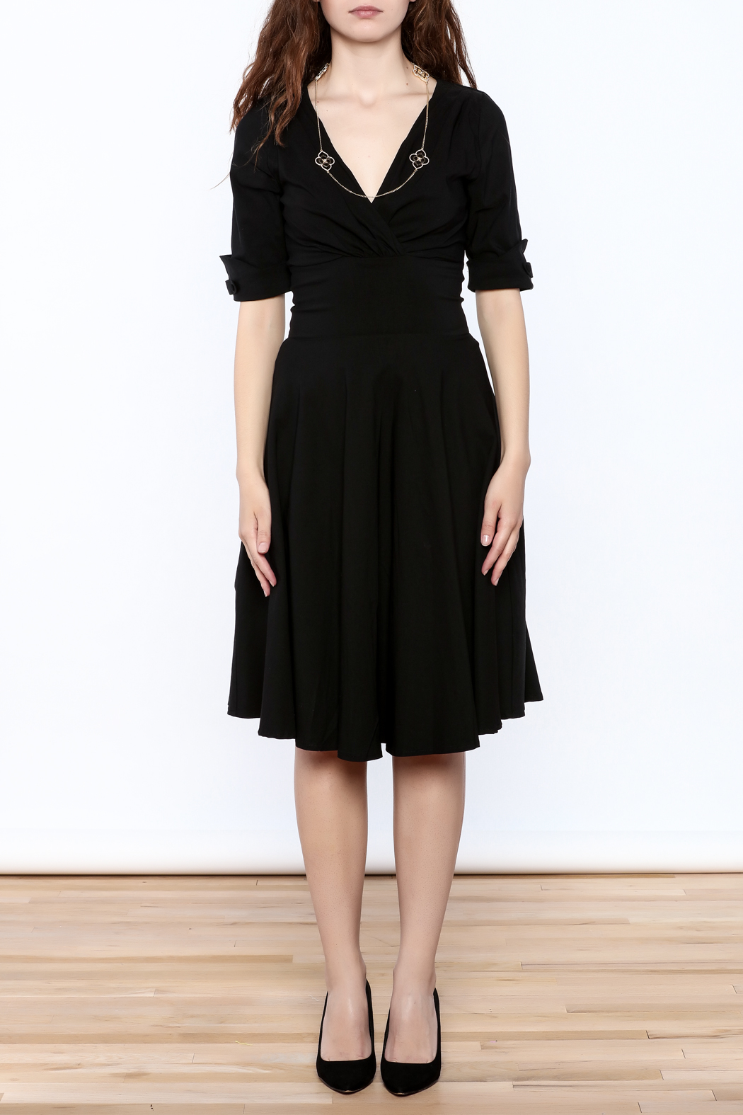 Unique Vintage Black Delores Dress - Front Cropped Image