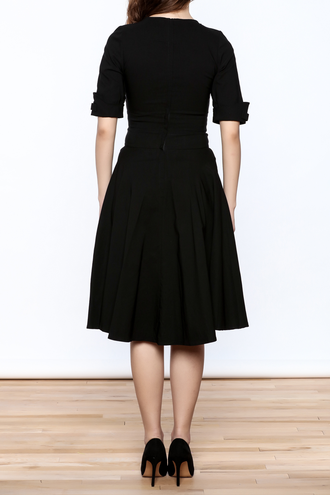 Unique Vintage Black Delores Dress - Back Cropped Image
