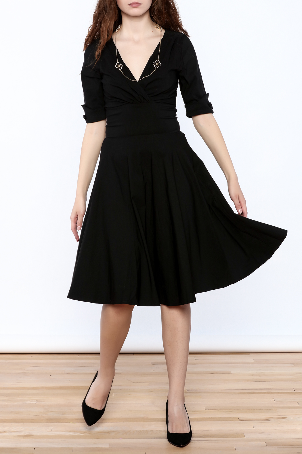 Unique Vintage Black Delores Dress - Front Full Image