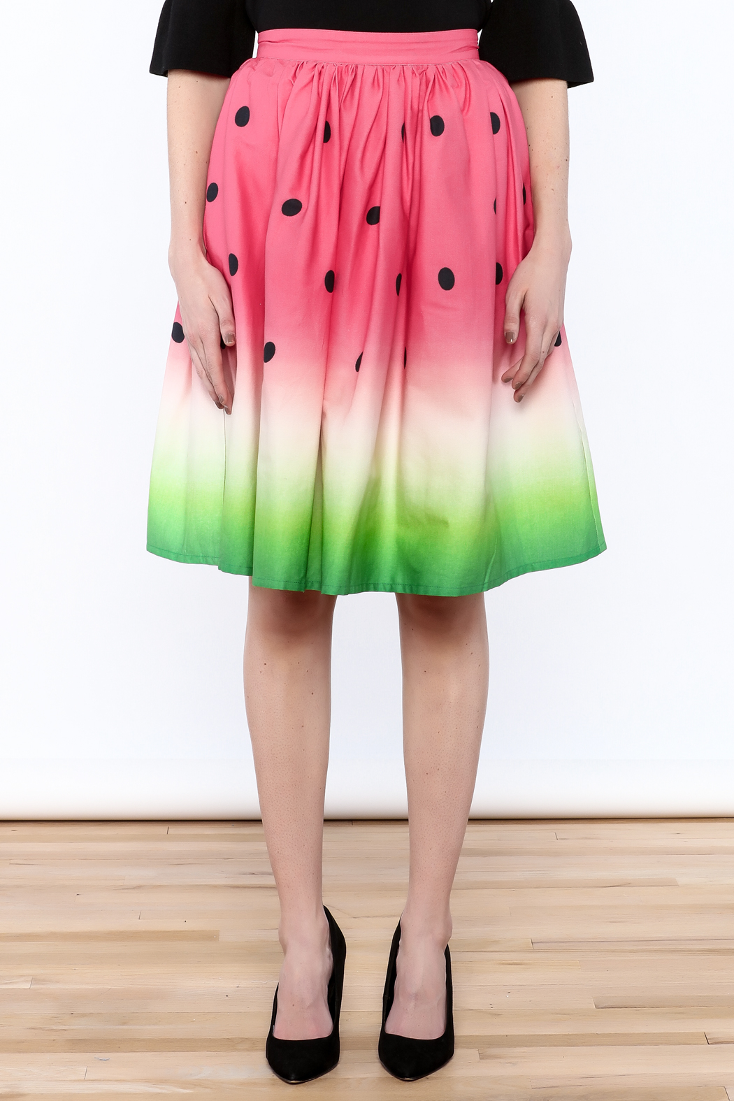 Unique Vintage Watermelon Knee Skirt - Side Cropped Image