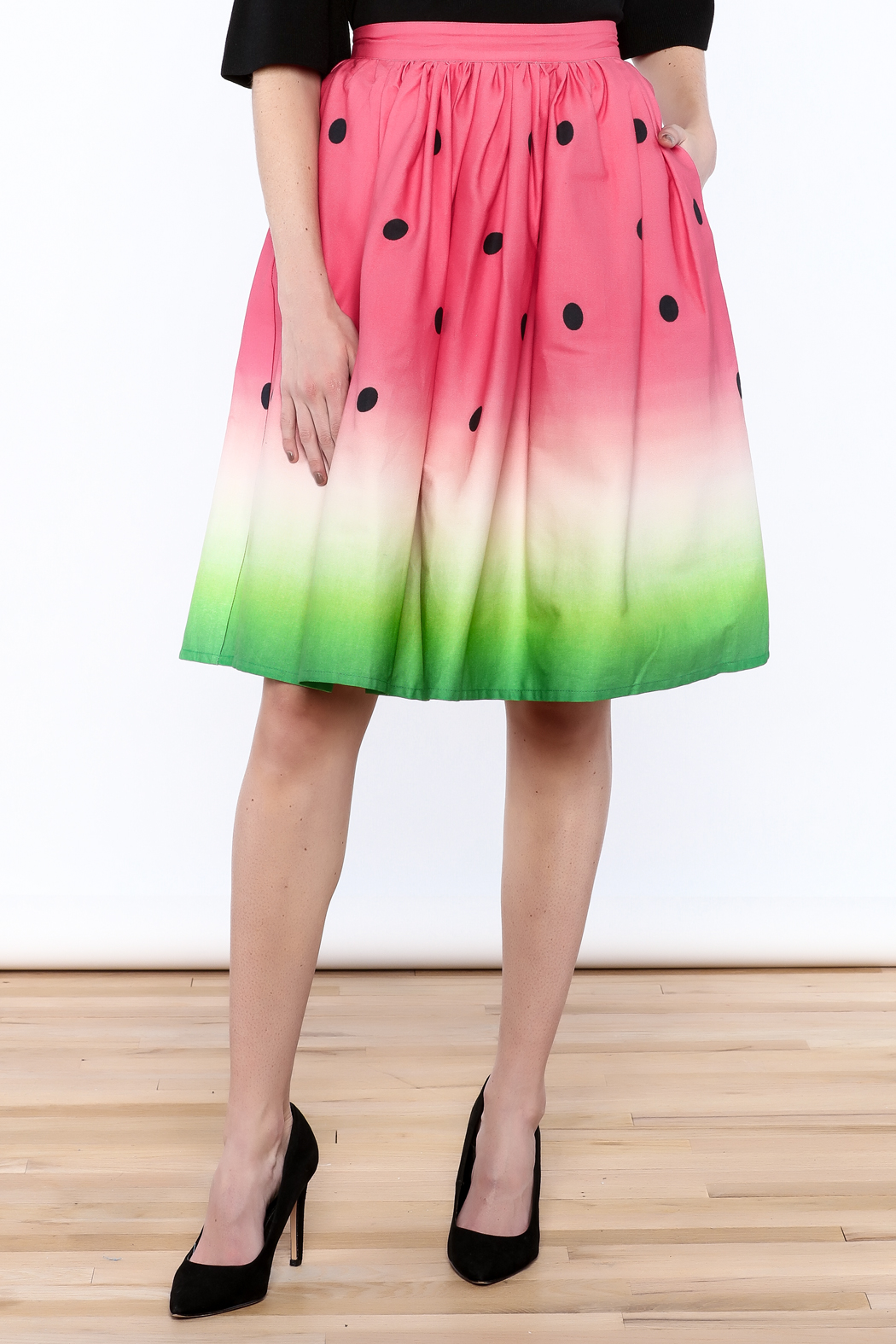 Unique Vintage Watermelon Knee Skirt - Front Cropped Image