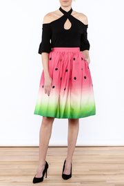 Unique Vintage Watermelon Knee Skirt - Front full body