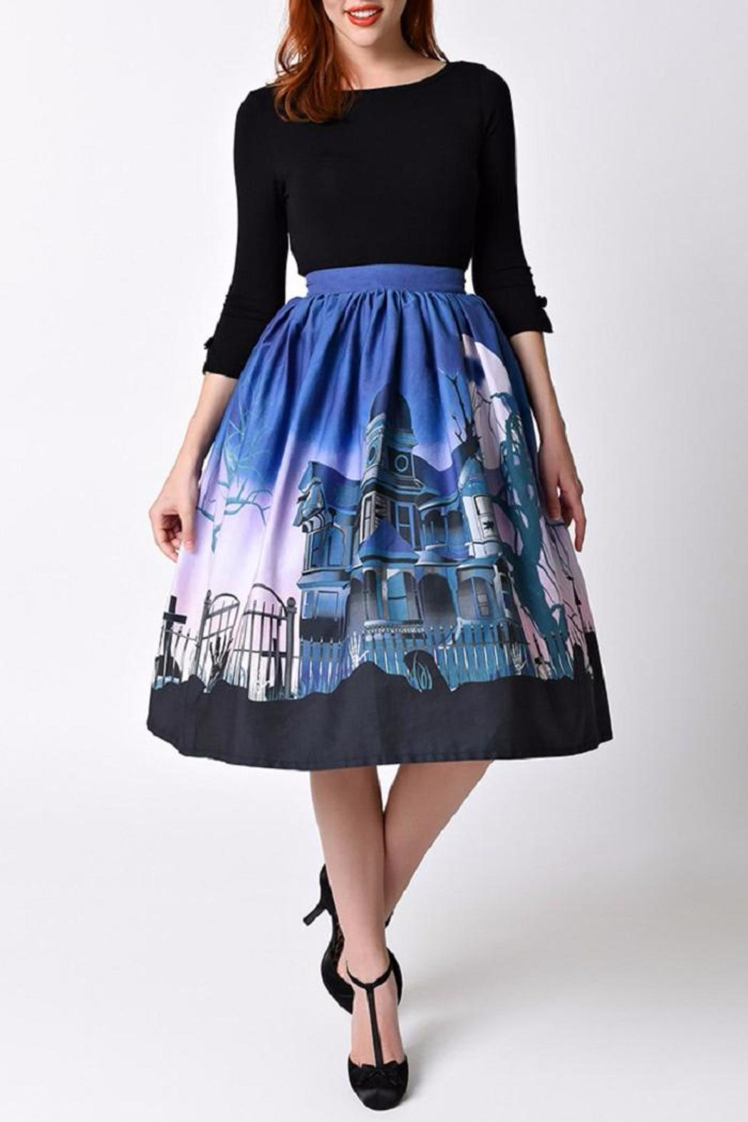 Unique Vintage Haunted Mansion Skirt - Front Cropped Image