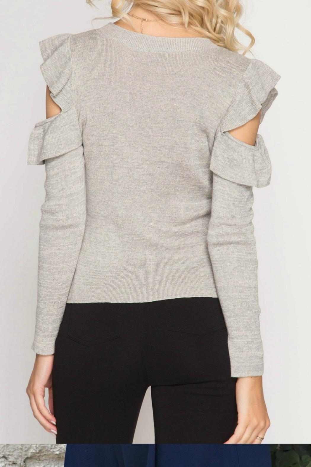 Unknown Factory Cold Shoulder Sweater - Front Full Image