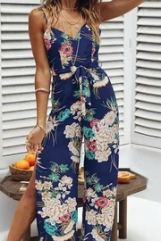 Unknown Factory Navy Floral Jumpsuit - Product Mini Image