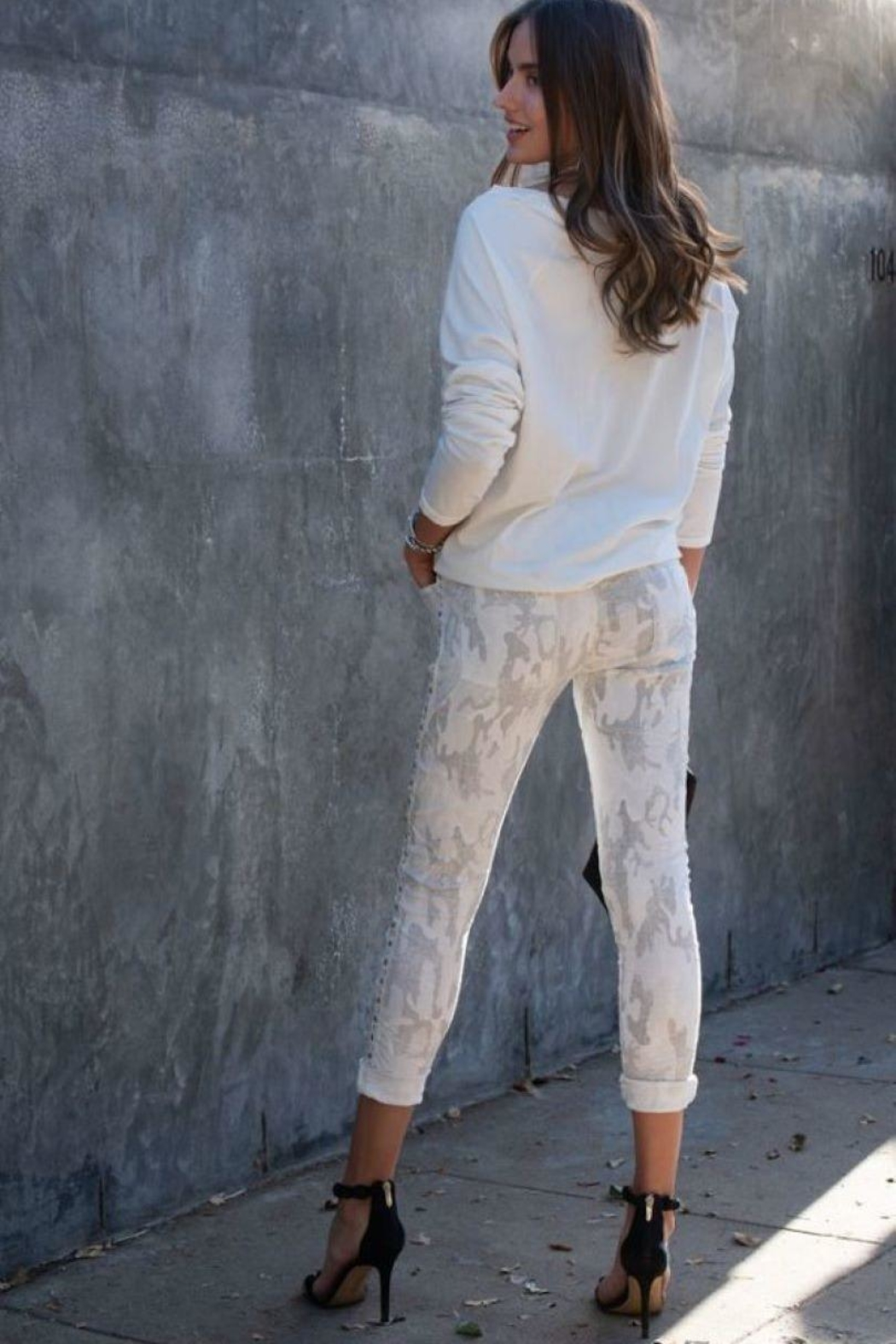 Unknown Factory White Camo Jeans - Front Full Image