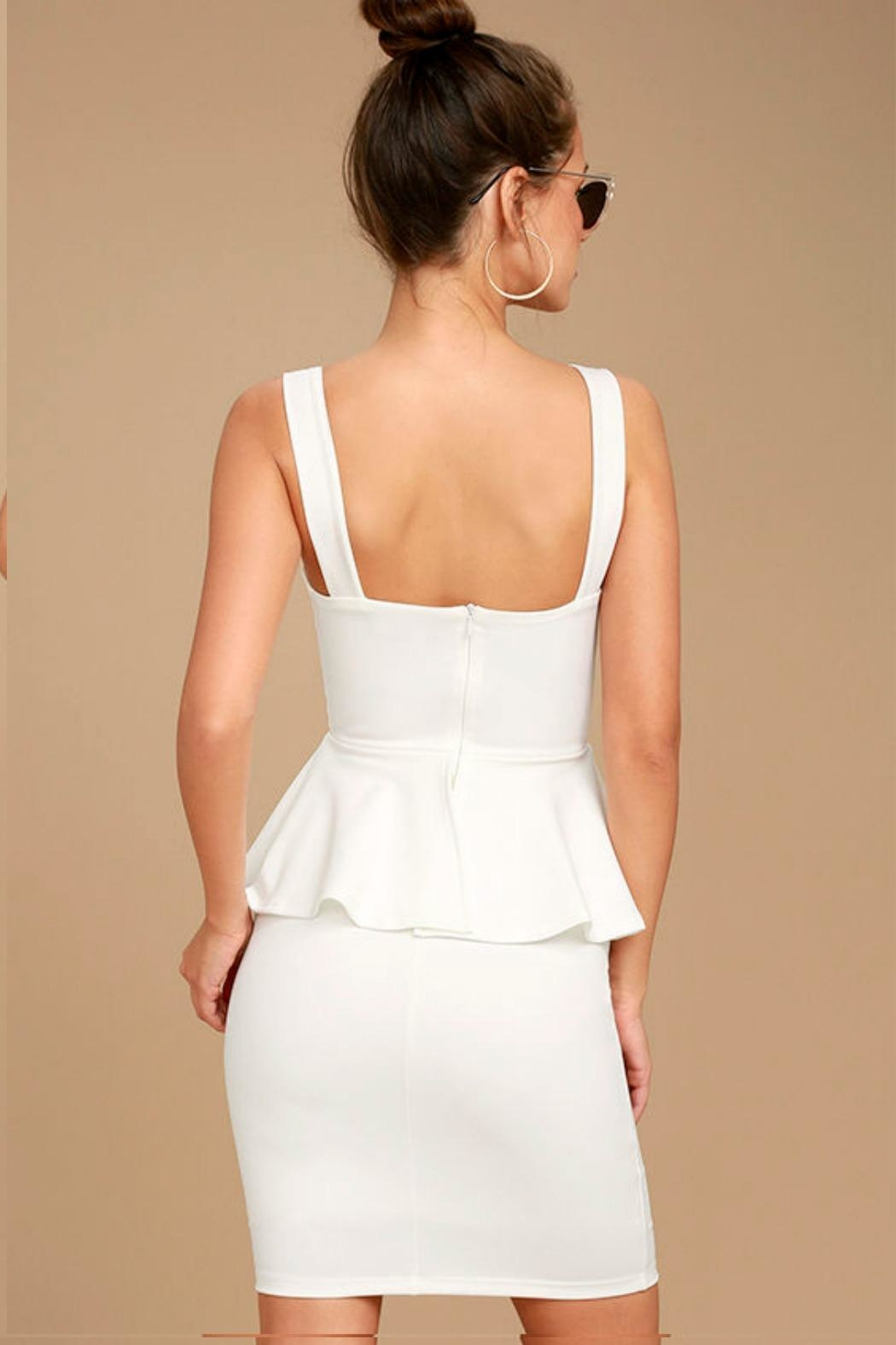 Unknown Factory White Peplum Dress - Front Full Image